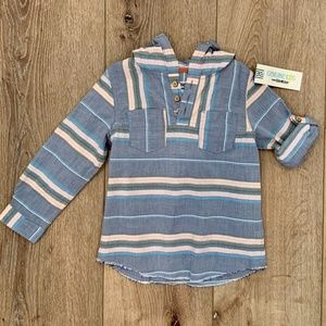 OshKosh B'gosh Button Pullover Hooded Shirt NWT